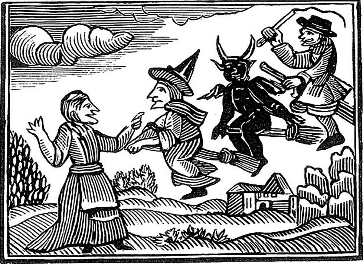 hist 306 the witch hunts in europe cal poly magazine Workers On the 18th Century woodcut of witches flying from mathers wonders of the invisible world 1689 and used in an 18th century p hlet about the lancashire witches
