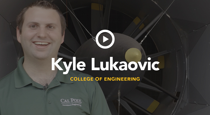 All Cal Poly aerospace engineers aim to change the future of flight. A few are doing just that from within the on-campus wind tunnel. A team of undergraduate and graduate students have partnered with ES Aero to help test part of NASA's new X-57 prototype electric aircraft, the first of its kind. Kyle Lukacovic and his teammates tested the drag of new propeller designs that will assist the aircraft upon liftoff and stow during flight. The best part: the data they collect will be shared with the aerospace community to help accelerate innovation in electric flight.