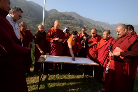 Buddhist monks engage in science experiments in Bhutan. Photo by Bryce Johnson