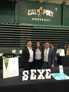 Students presenting the Sex.E startup at Cal Poly