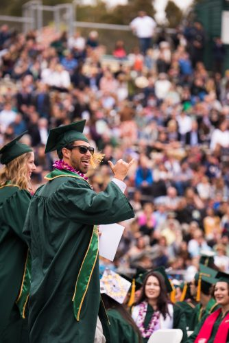 A male student in graduation cap, robe and sunglasses gestures happily to friends at Commencement.