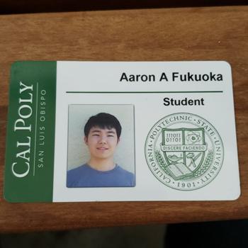 Aaron Fukuoka's Cal Poly ID card