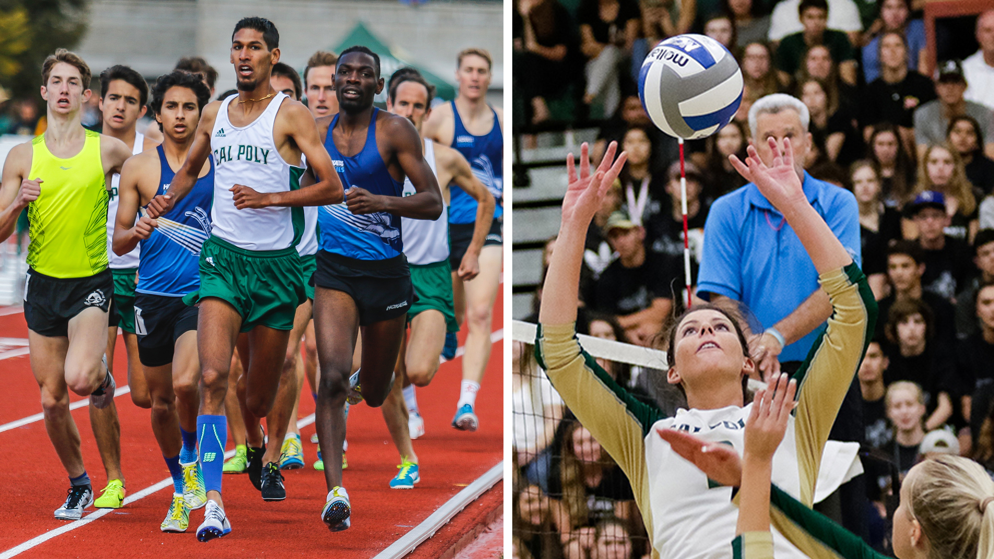 Cal Poly Athletes of the Year Swarnjit Boyal running and Taylor Nelson setting a volleball