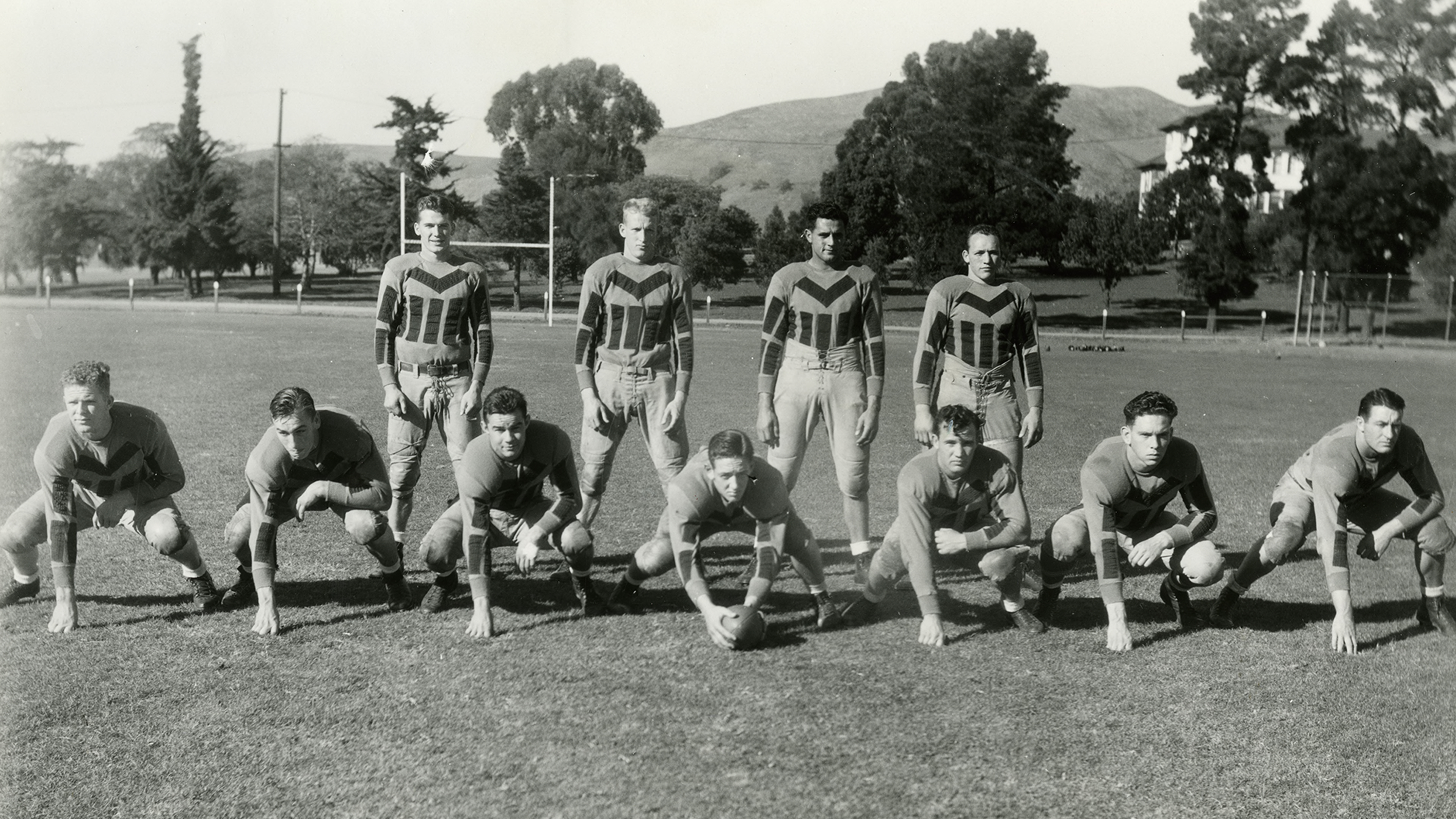 University Archives photo of Mustang football players