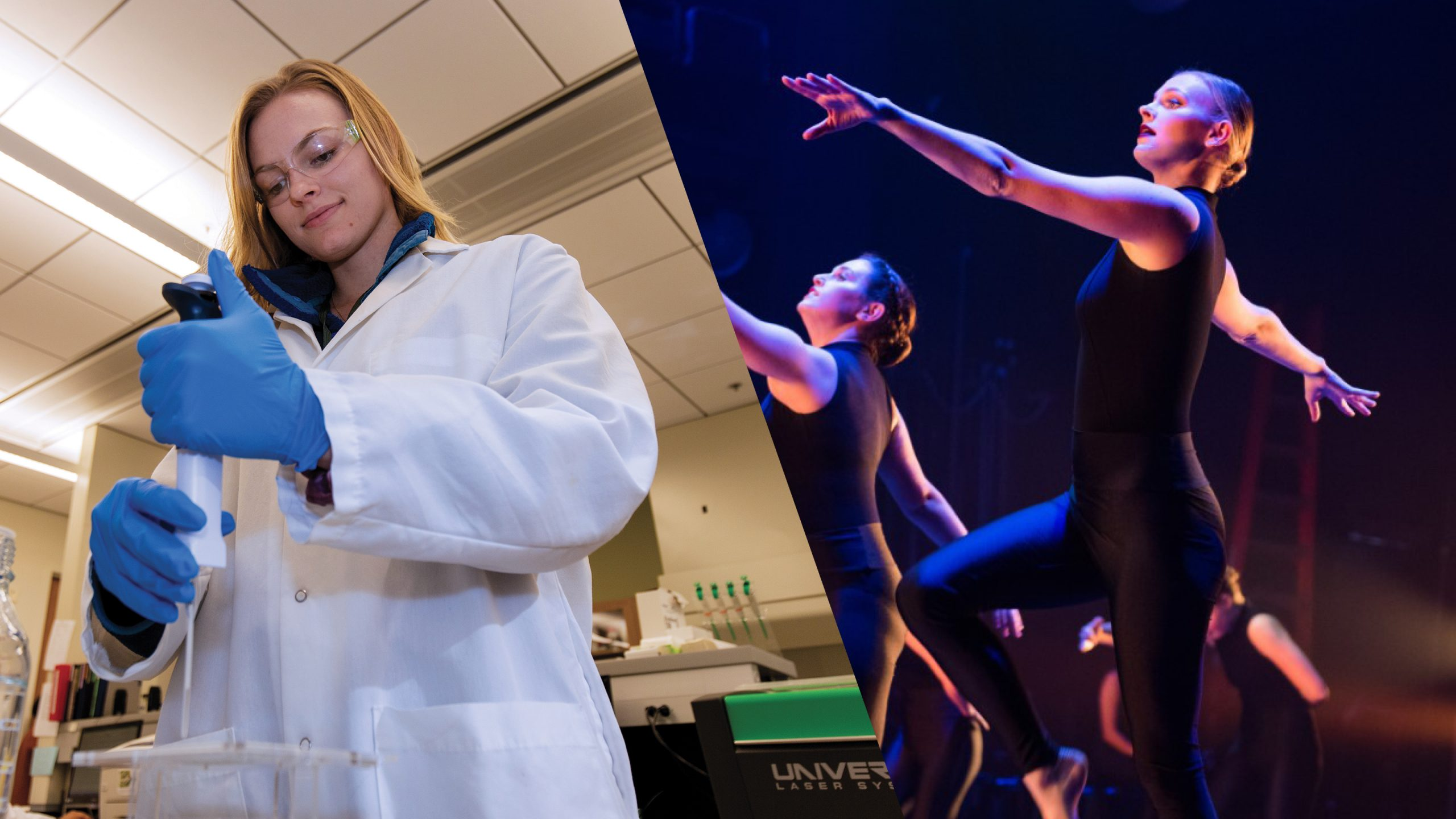 Two photos of Kendall Norberg performing an experiment in a biology lab and dancing on stage
