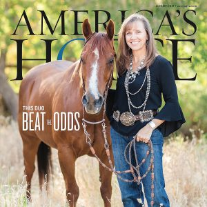 Paula Francis and her brown horse appear on the cover of America's Horse magazine