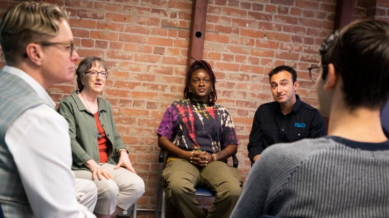 Kristen Hazard, Mary Glick, Tunmi Da Silva and Richard Smith discuss entrepreneurship at the SLO HotHouse