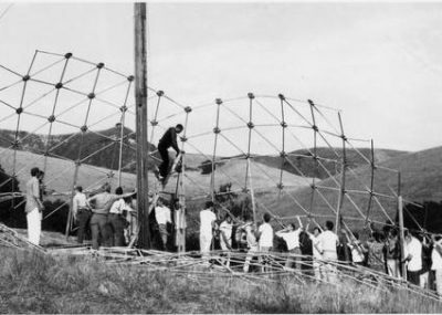 Students construct the infamous geodesic dome in Poly Canyon