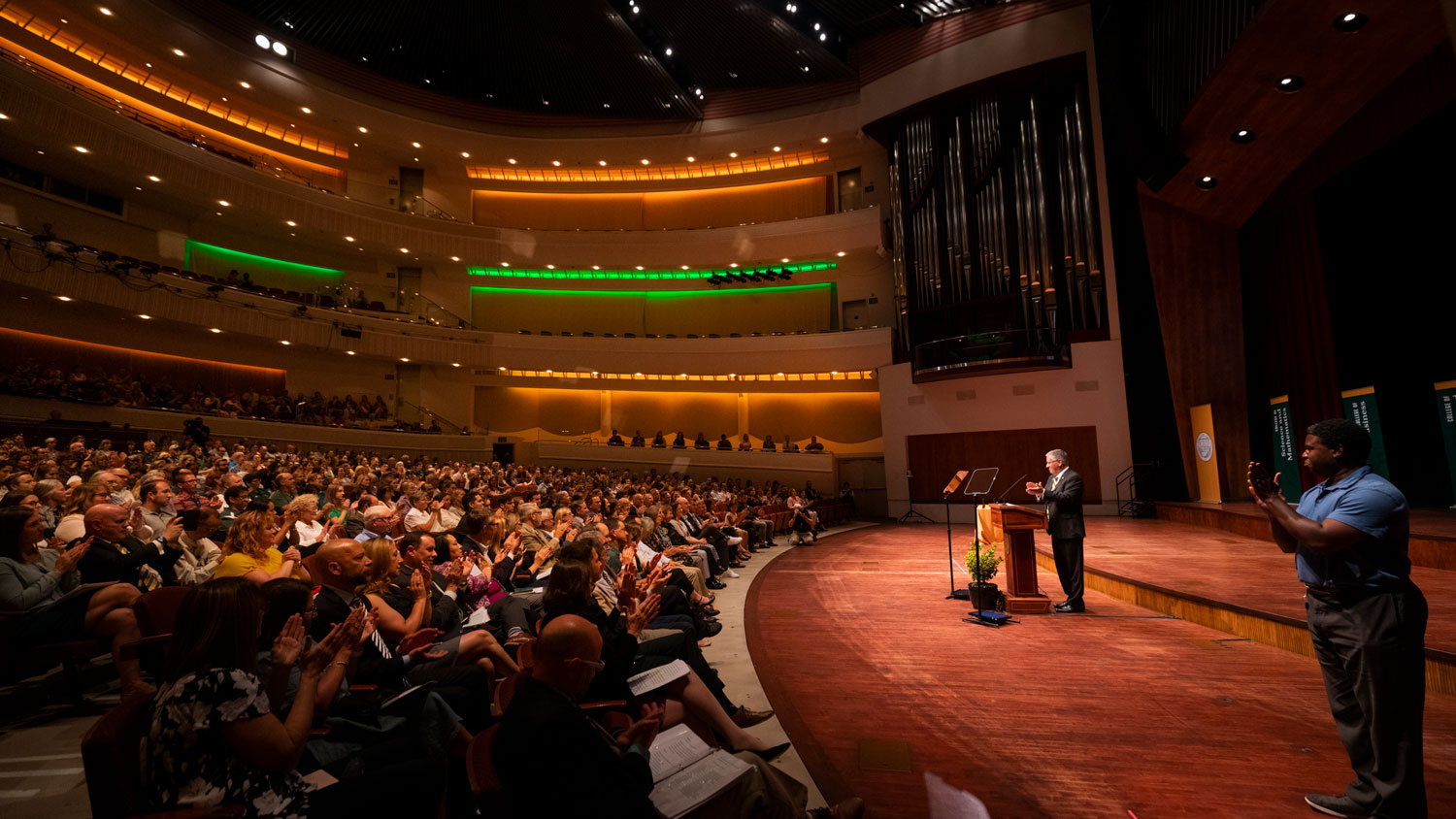 President Armstrong addresses faculty and staff at Fall Convocation at the Performing Arts Center