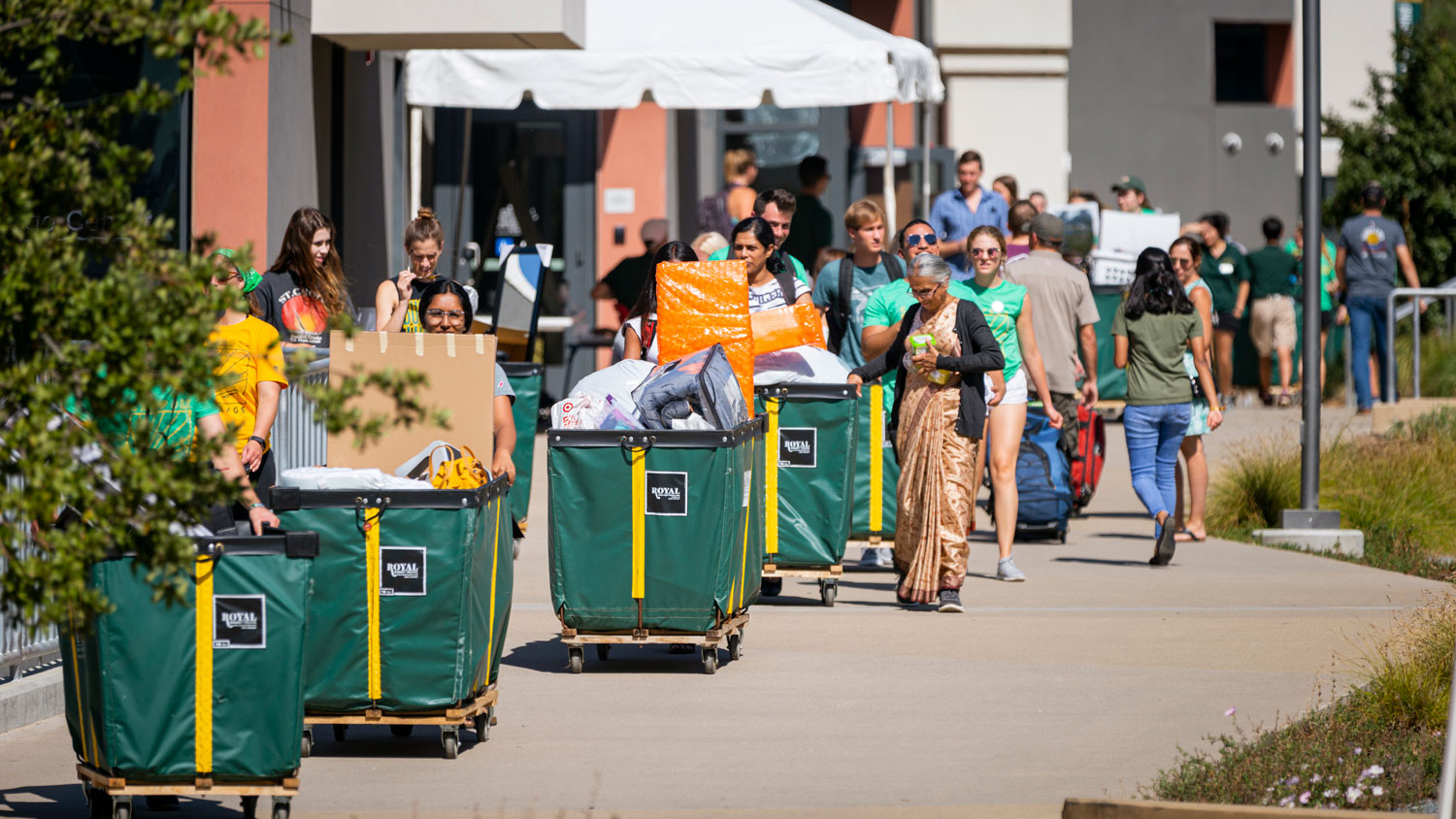 A row of carts pushed by students and family line up at the yakʔitʸutʸu residence halls