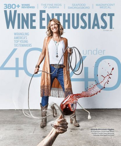 Alumna Amanda Wittstrom-Higgins lassos a glass of red wine on the cover of Wine Enthusiast magazine