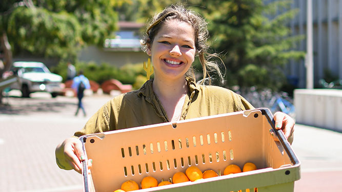 A Cal Poly student holds a basket of student-grown citrus fruit at a pop-up pantry near Dexter Lawn