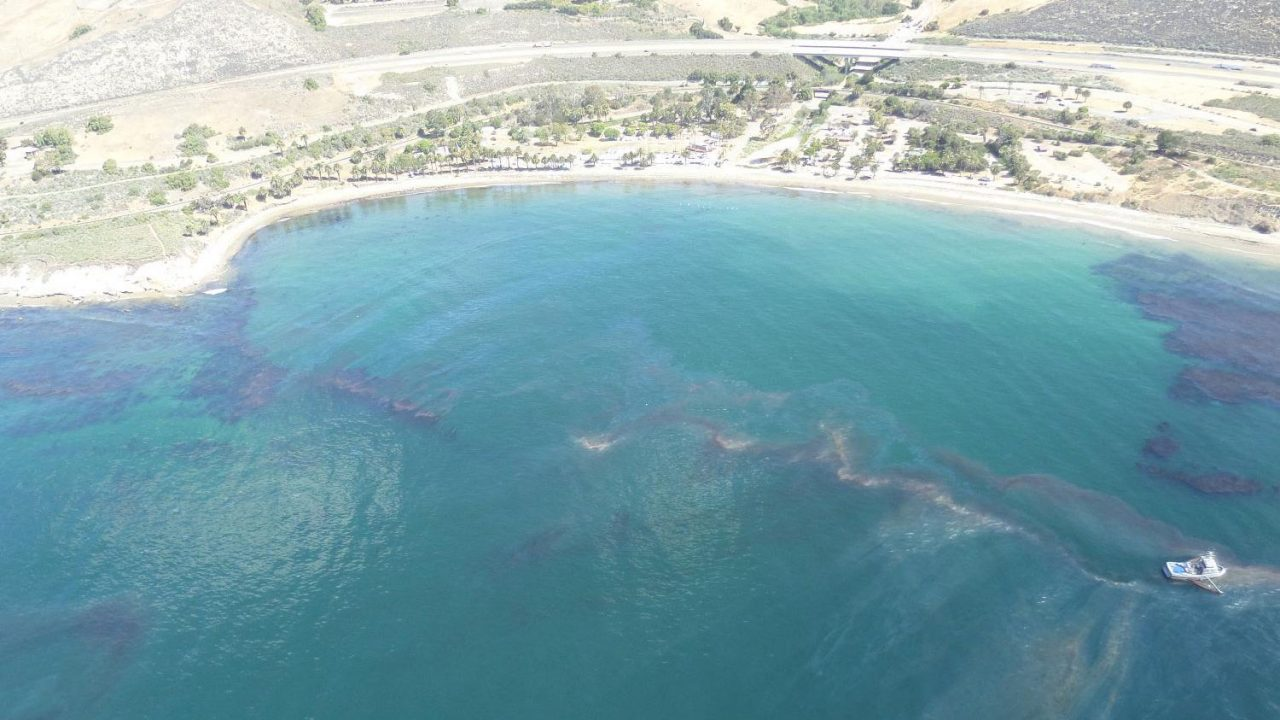 An aerial perspective of the Refugio oil spill near Santa Barbara, California.