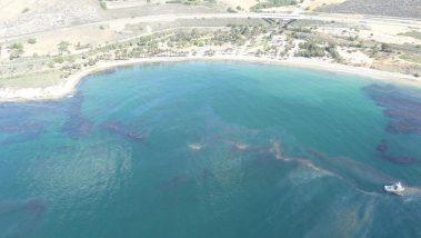 An aerial perspective of the Refugio oil spill near Santa Barbara, California.