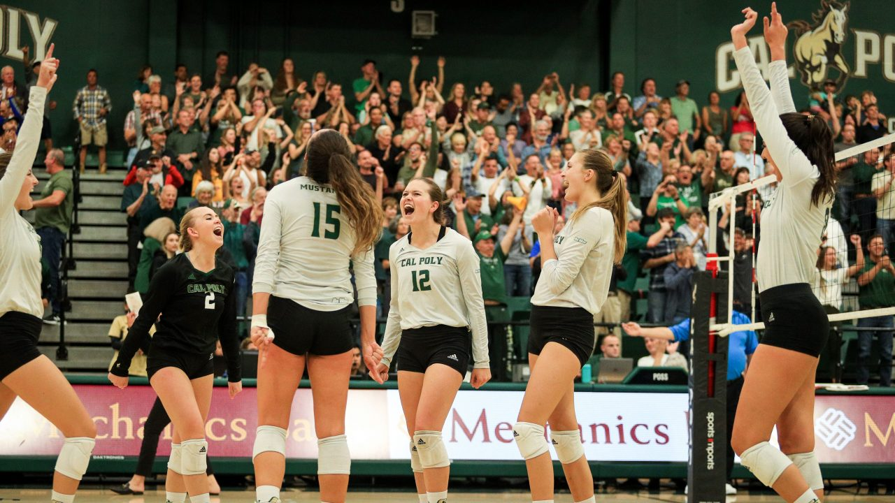 Athletes on Cal Poly's volleyball team celebrate a point in front of a crowd at Mott Athletic Center