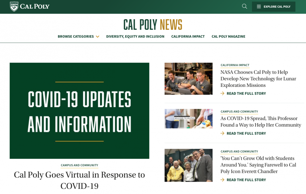 A screen capture of the Cal Poly News website, including articles on COVID-19