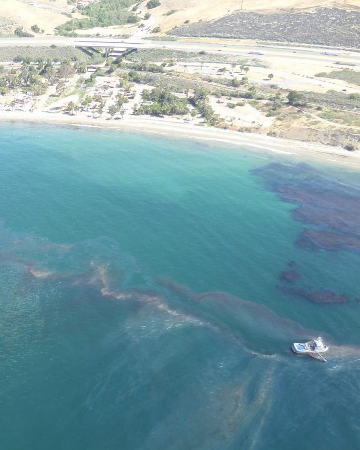 An aerial view of the refugio oil spill