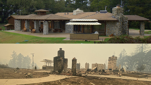 In a split image, a sprawling ranch-style building sits in front of trees on a green lawn; below, two stone chimneys are all that remain of the same building in front of a smoky sky.