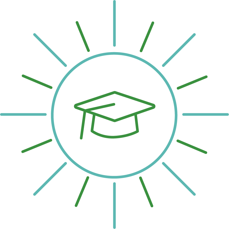 A blue and green line art icon of a graduation cap inside a shining sun