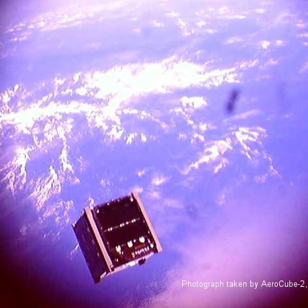 A cubesat orbiting Earth