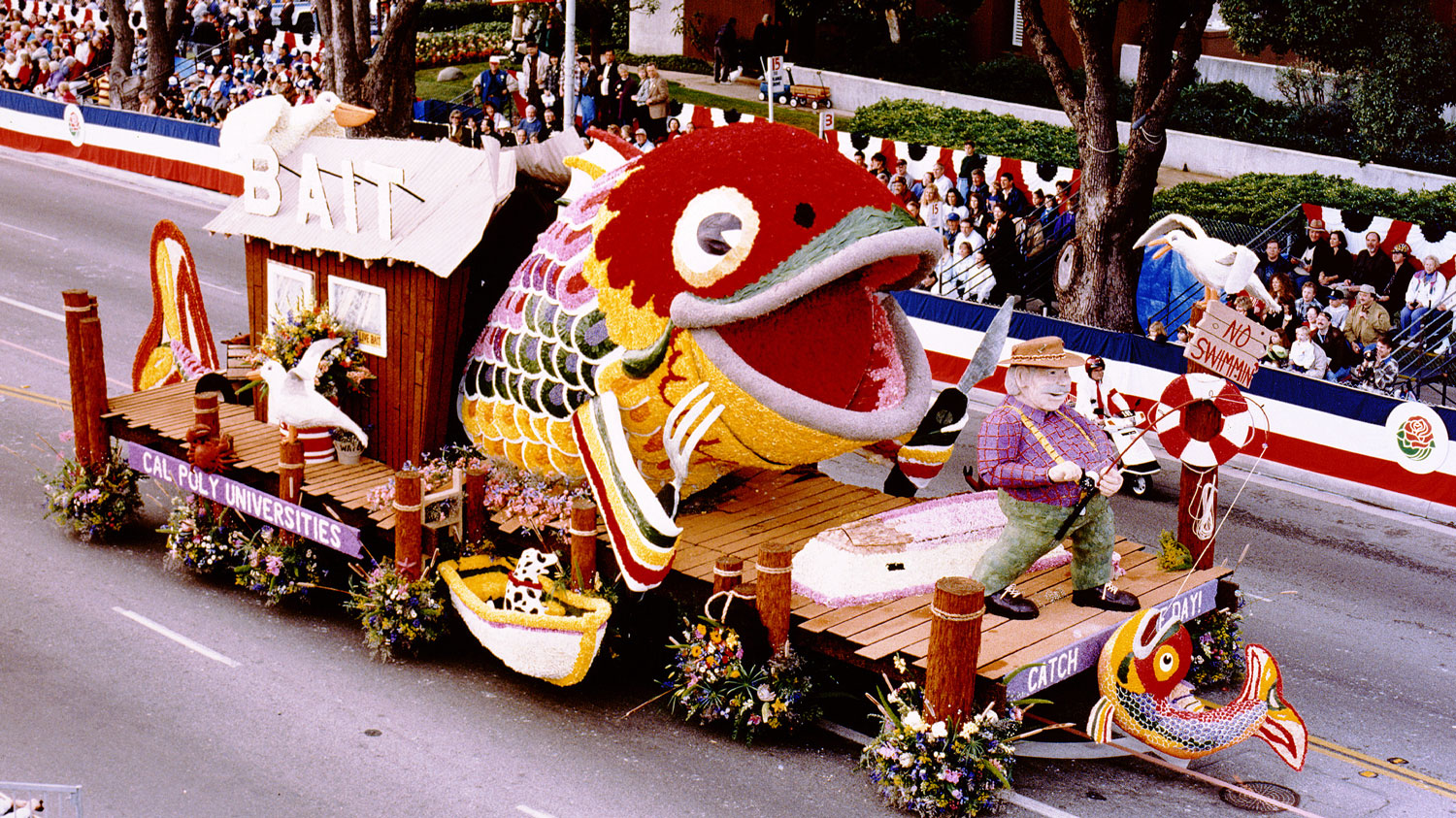 "Cal Poly's 1997 Rose Float titled ""Catch of the Day"""