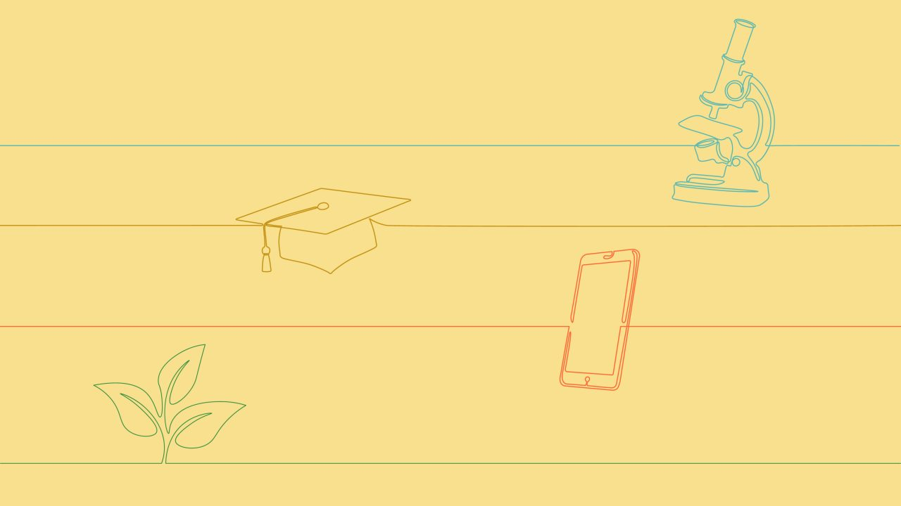 An illustration of a microscope, a cell phone, a plant and a graduation cap