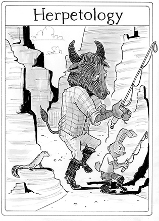 """A black and white cartoon showing an anthropomorphic buffalo and bunny stalking a lizard in a canyon, unaware that the lizard is watching them. The headline reads """"Herpetology"""""""