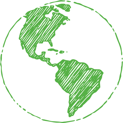 A green line art image of the globe