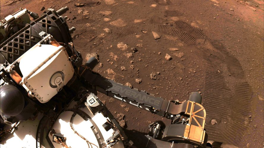 A photo of the surface of Mars taken by the Perseverance Rover