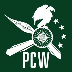 The PolyCultural Weekend logo on a green background