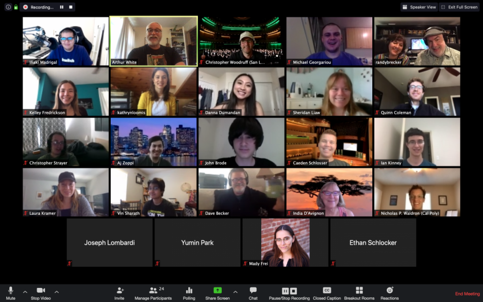 A screen shot of members of the Cal Poly Jazz Ensembles meeting via Zoom