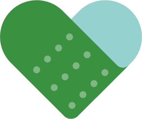 A blue and green illustration of a band-aid folded into the shape of a heart