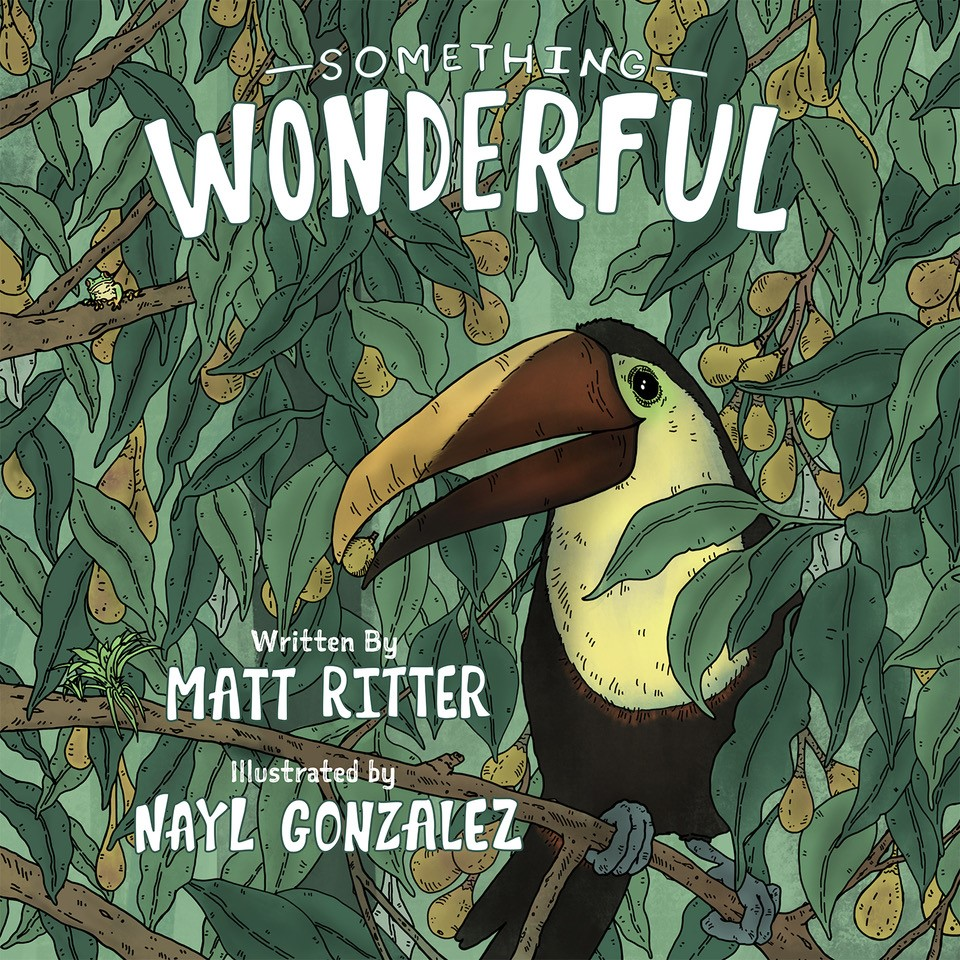 """The cover of a children's book, featuring an illustration of a toucan perched in jungle foliage, with the title """"Something Wonderful"""" and """"story by Matt Ritter and illustrations by Nayl Gonzalez"""""""