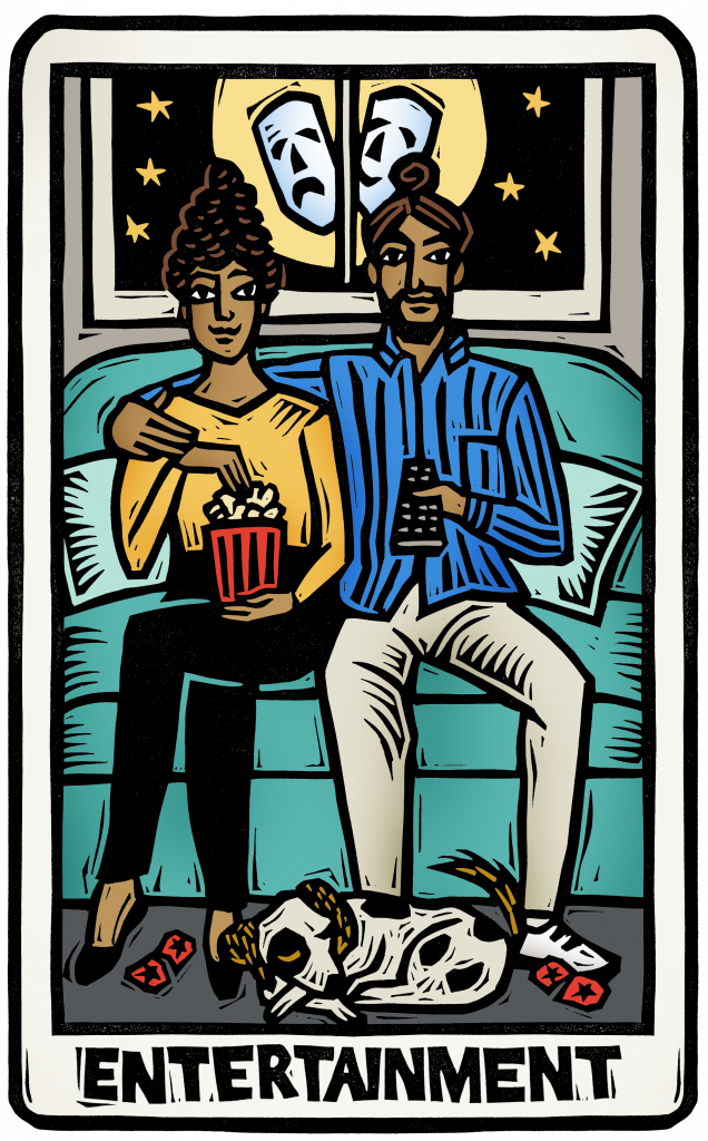 An illustration of a tarot card showing a couple watching a movie at home on their couch with popcorn. a dog sleeps at their feet next to torn movie tickets. comedy and tragedy masks appear in the window behind them.