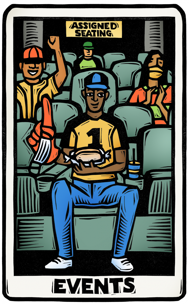 """An illustration of a tarot card featuring a man in the stands at a sporting event, holding a hot dog in a clear container, a foam finger with a face mask looped around it. other fans are spaced out behind him in the seats. a sign says """"assigned seats""""."""