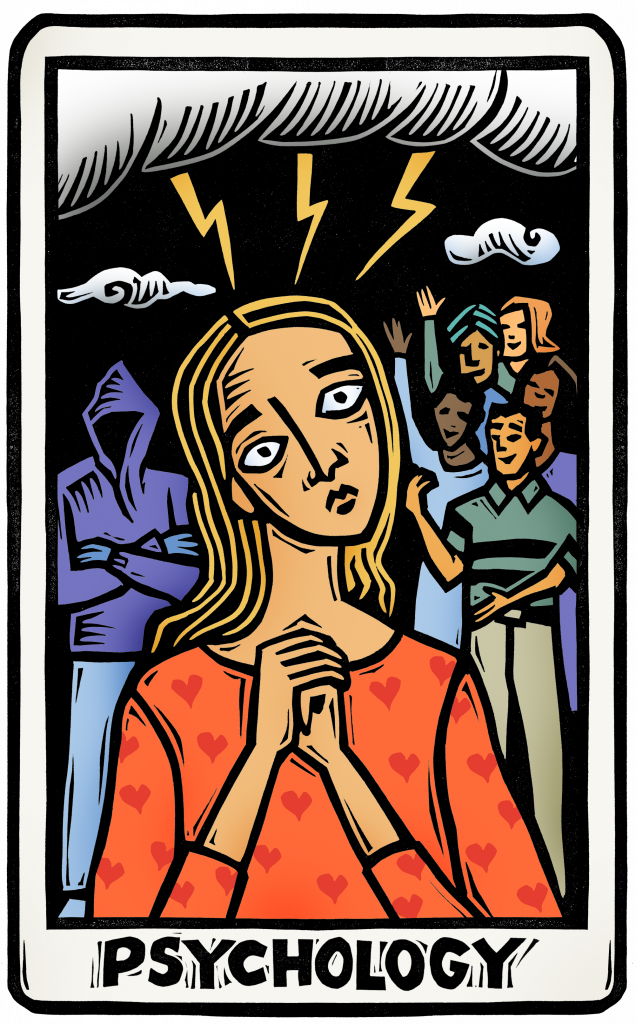 An illustration of a tarot card featuring a frightened woman - over one shoulder is a mysterious threatening figure, over the other is a group of friends smiling and beckoning her to join them