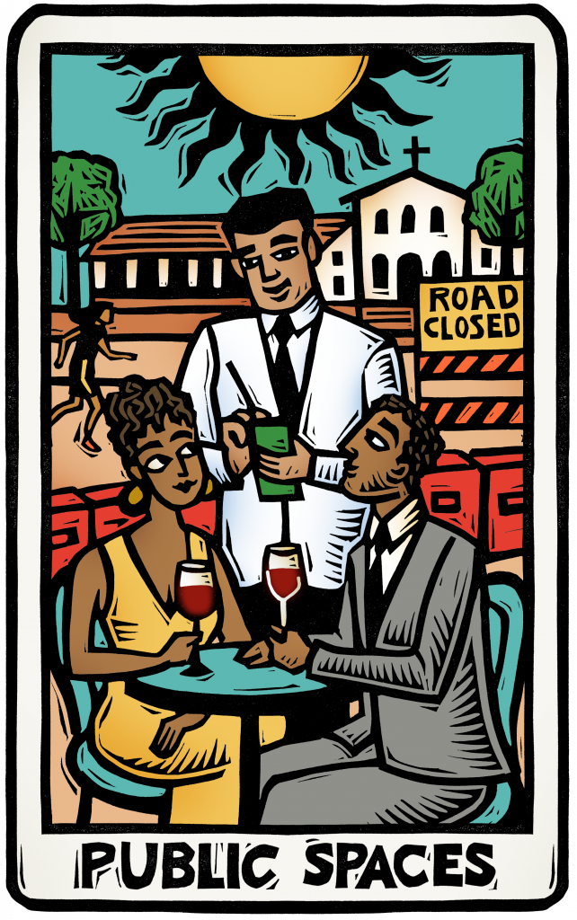 An illustration of a tarot card showing a couple dining at an outdoor restaurant space in the sunshine, a waiter taking their order, while people walk in the backgroun with the SLO Mission visible.