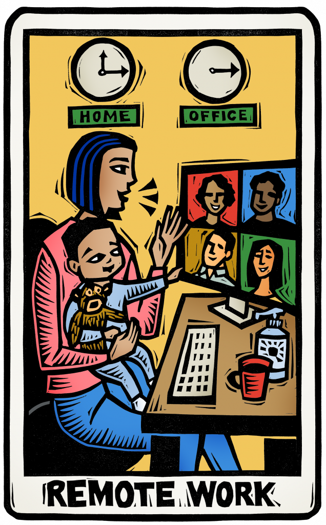 An illustration of a tarot card featuring a woman holding a child on her lap while she works from home. clocks on the wall indicate she's in a different time zone than her colleagues. a screen on her desk shows coworkers meeting via zoom.